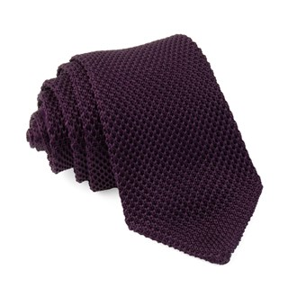 pointed tip knit eggplant ties