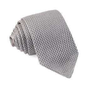 Silver Pointed Tip Knit ties
