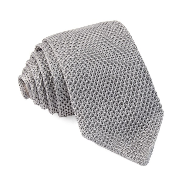 Silver Pointed Tip Knit Tie