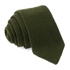 wool pointed tip knit hunter green ties