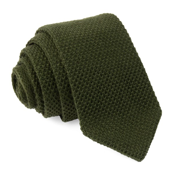 Hunter Green Wool Pointed Tip Knit Tie