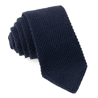 Pointed Tip Knit Navy Tie