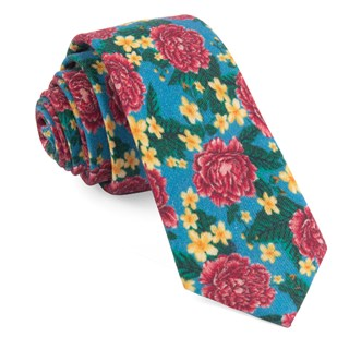 Rose Floral Light Blue Tie