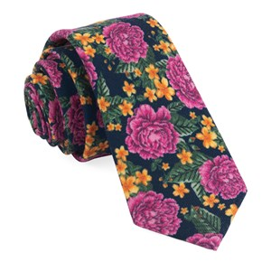 rose floral navy ties