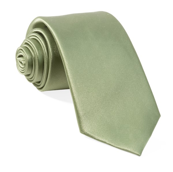 Solid Satin Sage Green Tie