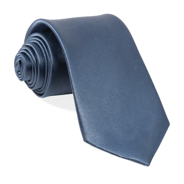 Slate Blue Solid Satin Tie