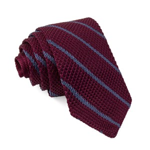 striped pointed tip knit burgundy ties