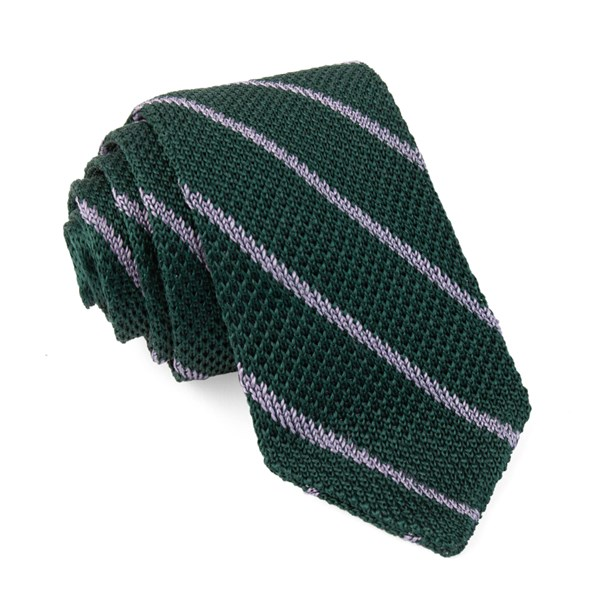 Striped Pointed Tip Knit Hunter Green Tie