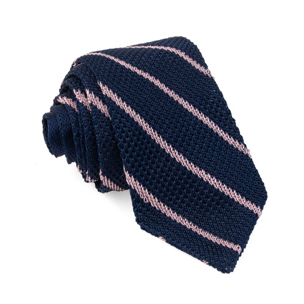 Navy Striped Pointed Tip Knit Tie