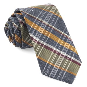 three lakes plaid navy ties