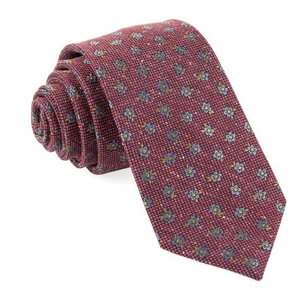 Burgundy Retro Flowers Tie