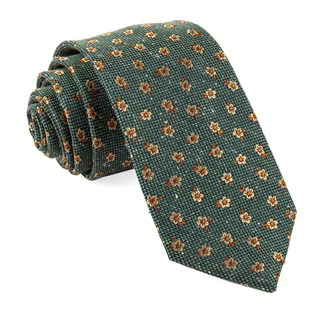 Retro Flowers Hunter Green Tie