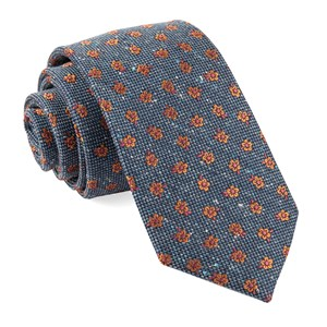 retro flowers navy ties