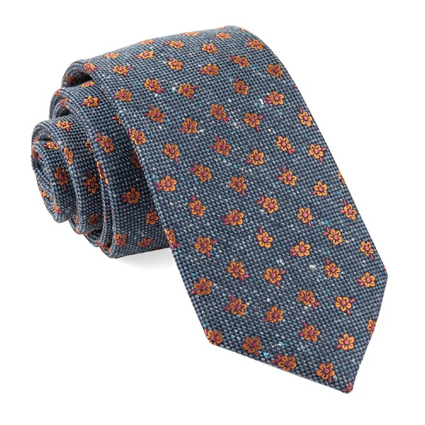 Navy Retro Flowers Tie