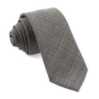 Cord Plaid Grey Tie