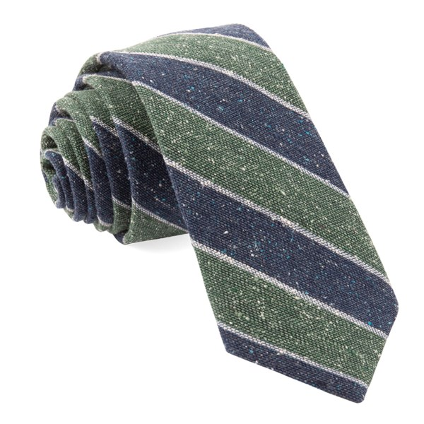 Hunter Green Texture Row Stripe Tie