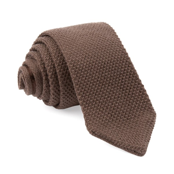 Brown Pointed Tip Knit Tie