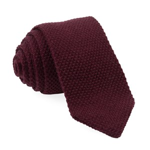 wool pointed tip knit burgundy ties