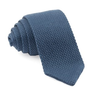 pointed tip knit slate blue ties