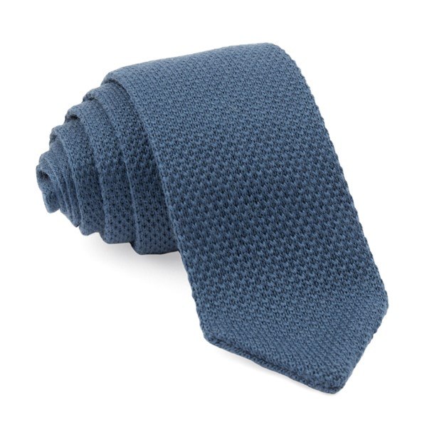 Pointed Tip Knit Slate Blue Tie