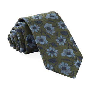 power floral olive green ties