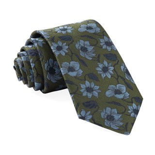 Power Floral Olive Green Tie