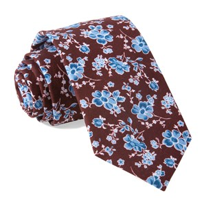 walnut street floral burgundy ties