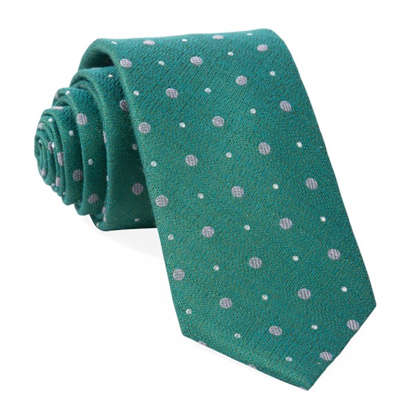 Green Teal Lighthouse Dots Tie