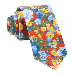 roam floral red ties