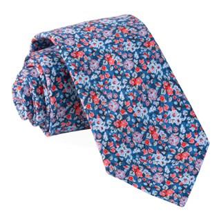 freesia floral navy ties