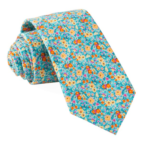 Turquoise Freesia Floral Tie