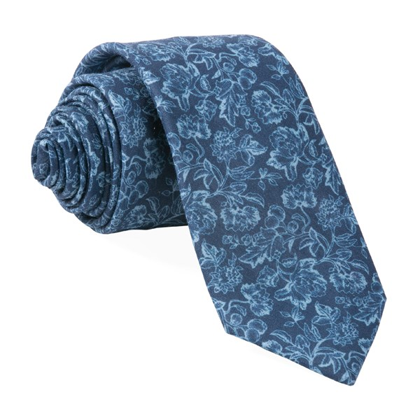 Navy Bhldn Flower Portrait Tie