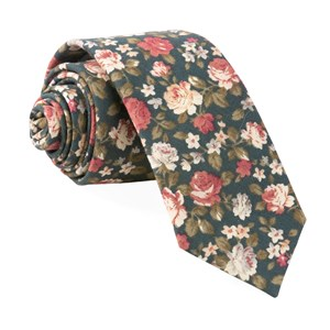 moody florals green ties