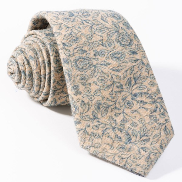Champagne Brushed Cotton Floral Doodles Tie