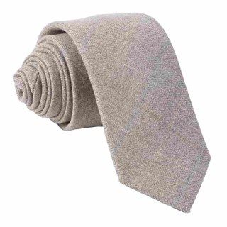 Petite Herringbone Plaid Brown Tie