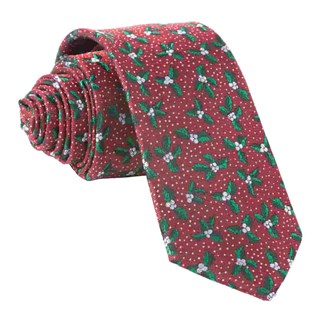 Under The Mistletoe Burgundy Tie