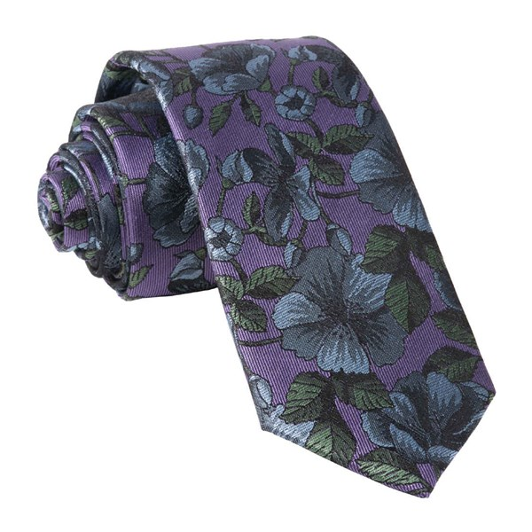 Purple Monarch Floral Tie