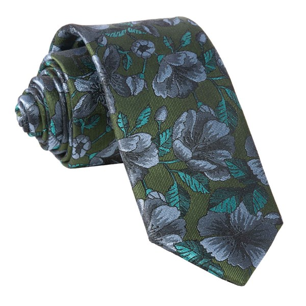 Olive Green Monarch Floral Tie