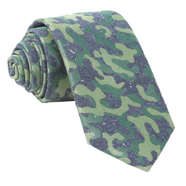 Olive Green Speckled Camo Tie