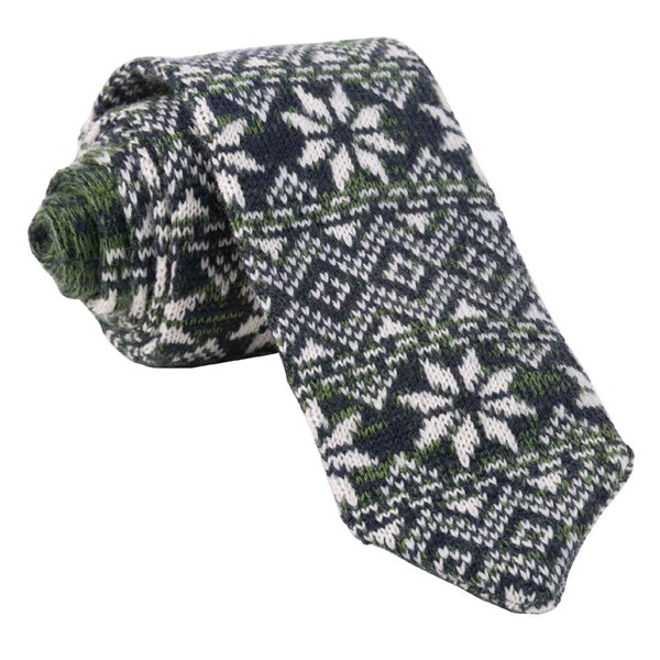Green Frosted Snowflake Tie