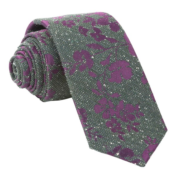Hunter Green Onyx Floral Tie