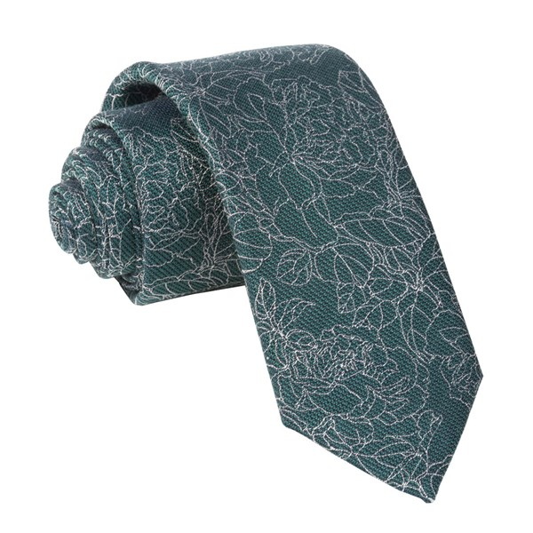Hunter Green Lace Floral Tie