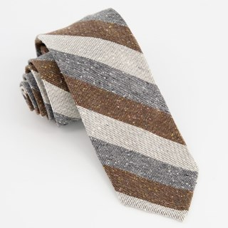 Unlined Textured Stripe Navy Tie