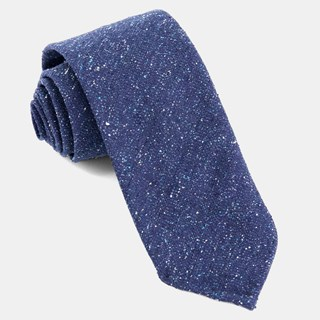 Unlined Textured Solid Navy Tie