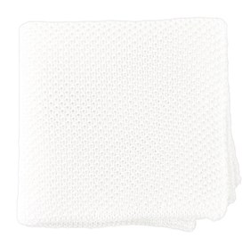 White Solid Knit pocket square