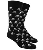 Men's Socks - SKULL AND CROSSBONES - BLACK