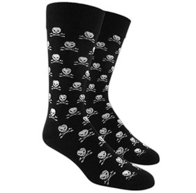 Black Skull And Crossbones mens socks