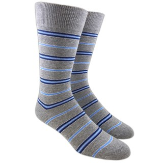 Clinton Stripe Silver Dress Socks