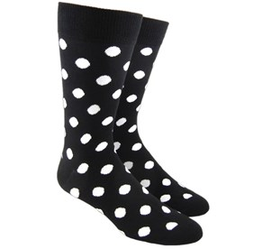 Black Pop Dots mens socks