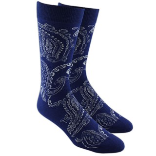 Platform Paisley Navy Dress Socks